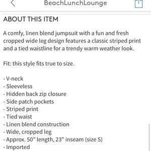 beachlunchlounge Pants & Jumpsuits - New beachlunchlounge Striped Linen Blend Jumpsuit